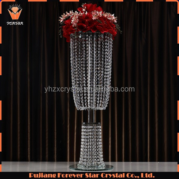 luxury tall hanging glass ball crystal wedding flower stand centerpieces on sale