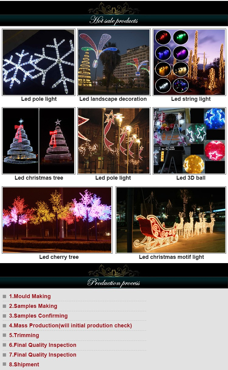 2016 Xmas street light decoration outdoor 2d bell motif decorative rope light motif