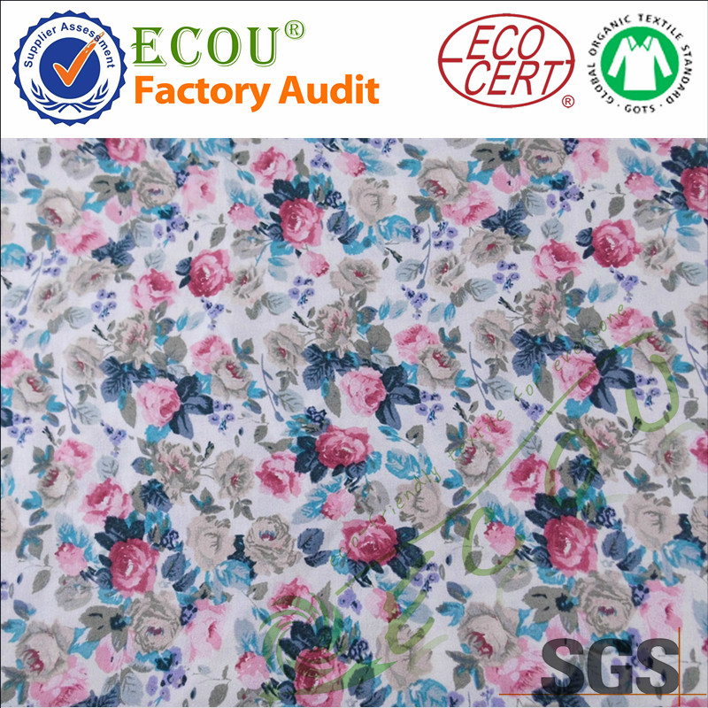 Hot sale 100 bamboo flower printing design woven fabric for baby clothes