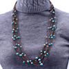 Long statement women handmade necklace gemstone beads korea velvet cord necklace
