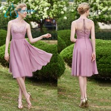 Chiffon Tulle Sheath Jewel Knee Length Bridesmaid Dress 2017
