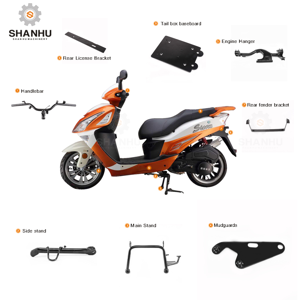 High quality chinese thailand handlebar rear fender license plate bracket spare parts for electric gas scooter motorcycle