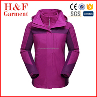 purple water reprellent ski jacket fo lady no brand coat made in fuzhou