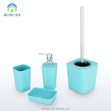Fashion square design plastic bathroom accessories set with rubber painting surface