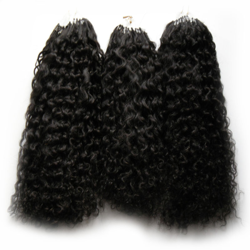 "10""-28"" 7a Micro Loop Brazilian Extensions 300g Natural Black Kinky Curly Micro Bead Hair Extensions 300s Micro Loop 1g Curly"