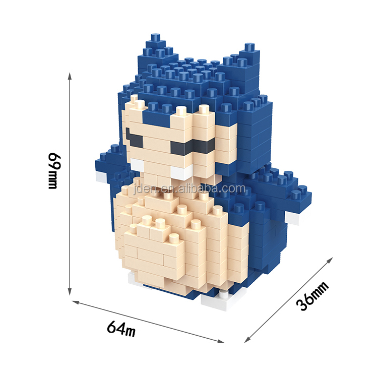 HSANHE toys pocket monster pokemon figures snorlax nano building blocks