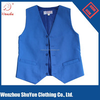 Custom hotel waiter waistcoat ,blue simple formal waiter vest