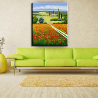 Beautiful colorful flowers scenery oil canvas painting