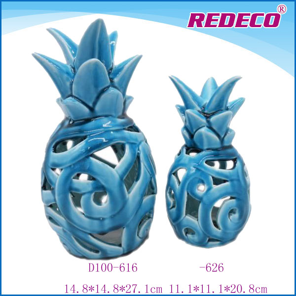 Glazed ceramic pineapple, artificial fruit pineapple for home decoration