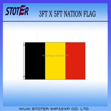 cheap polyester Belgium nation flag, black gold red country flag