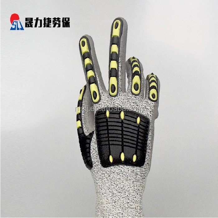 Anti slip mechanical safety nitrile foam coated nylon gloves