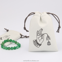 Promotional customize new type good quality drawstring brushed cotton jewelry bag with special printing