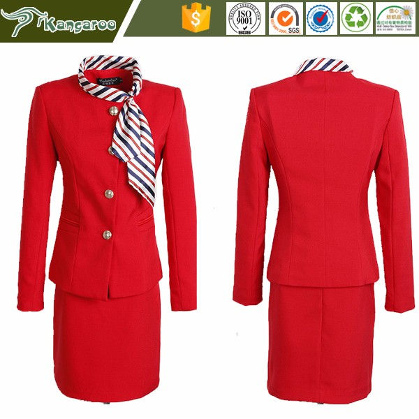 KU018 Carmy Airport Air Airline Asia Hostess Uniform For Womans Stewardess