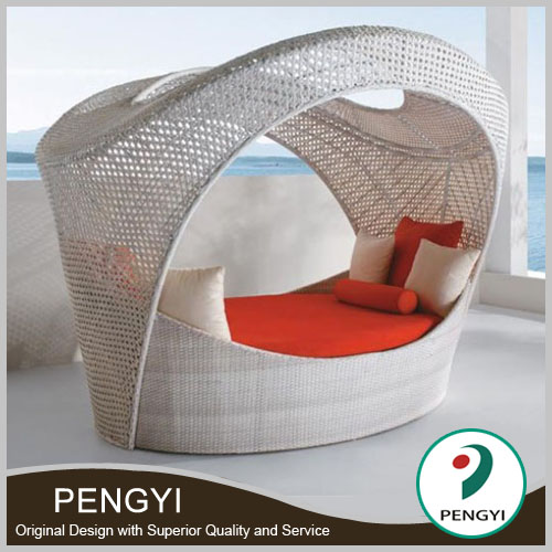 PE rattan round outdoor day bed with canopy