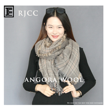 RJCC Tweed Check Oversized Angora Wool Best-selling Scarf Shawl for Winter Wear