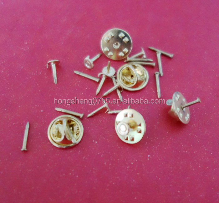 Factory Cheap solid brass delux clutch label pin back for craft