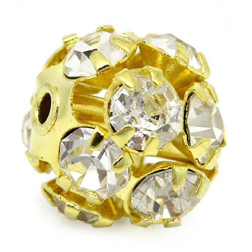 Gold Plated Pave Clear Rhinestone Ornate Filigree Balls Beads 9x8mm