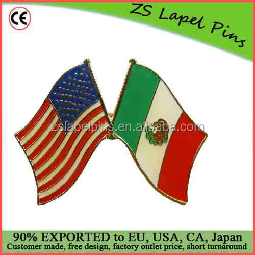 Free artwork design custom quality 1 inch Crossed United States of America Mexico Flags Enamel Pin