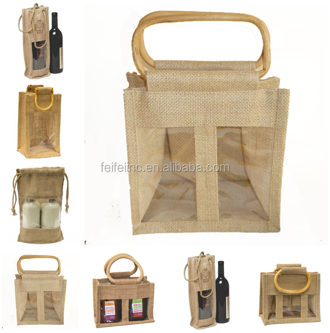 durable eco-friendly clear shopping gift bag,jute bag with window