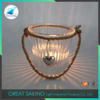 clear valentine's day glass candle holder with hemp rope