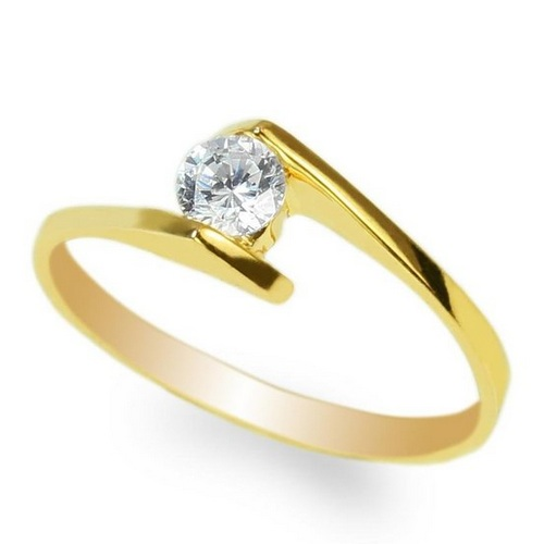 24K Solid Yellow Gold 0.28ct Round CZ Beautiful Solid Ring
