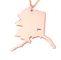 SJUSASN007 Area Feeling Special Gift for American Gold Plated Stainless Steel Rose Gold USA Alaska State Map Necklace