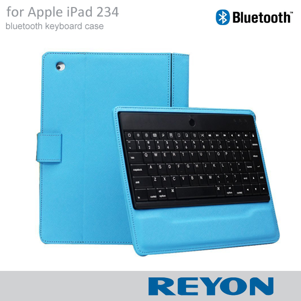 REYON brand Detachable Bluetooth Keyboard Folio PU Leather Case Magnetic Cover with Stand for iPad 2 3 4