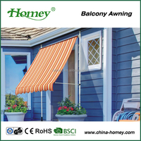outdoor freestanding manual wrought iron awning