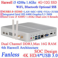 Aluminum fanless i5 4200u pc mini with Intel Core i5 4200U 1.6Ghz Haswell Architecture SOC design 4G RAM 32G SSD windows Linux