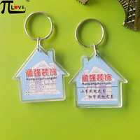Acrylic keychain factory custom good decoration company promotional gifts house shape pmma key chain