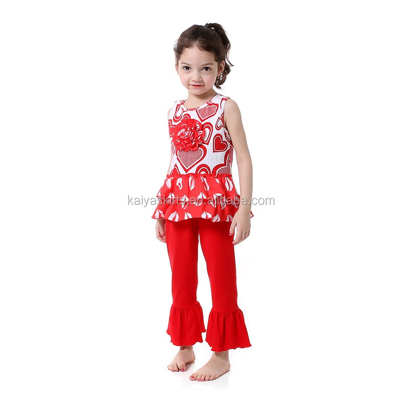 wholesale children's boutique clothing sleeveless with raglan pants cotton floral baby valentine outfits