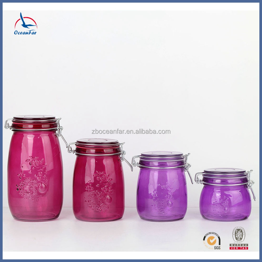 Frosted Colored Glass Canning Jars High Quality Glass Container With Lid