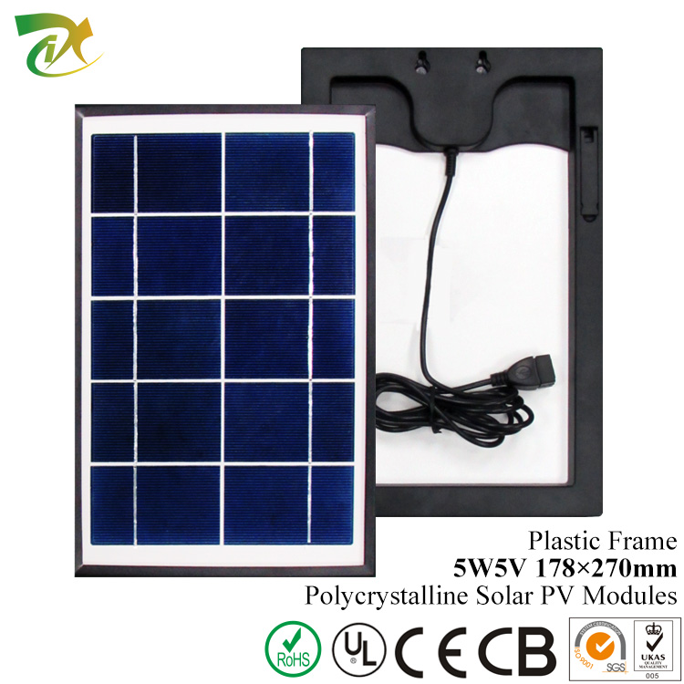 poly solar 5w 5v module small size with frame plastic