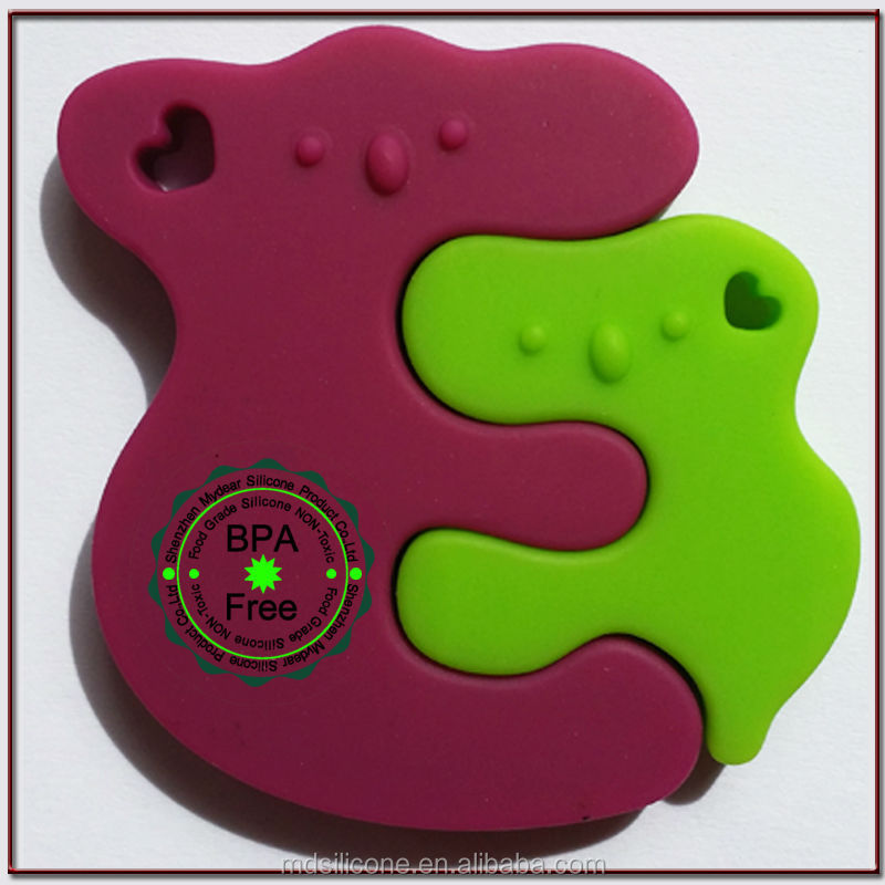 Wholesale silicone BPA free baby teether 100% food grade silicone baby teether solid silicone