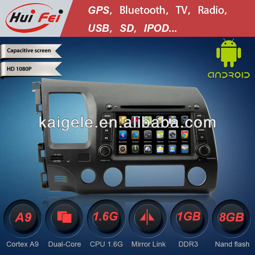 Pure Android stereo in Car CD DVD audio Player for Honda CIVIC 2006-2011 with GPS 3G WIFI USB SD CANBUS