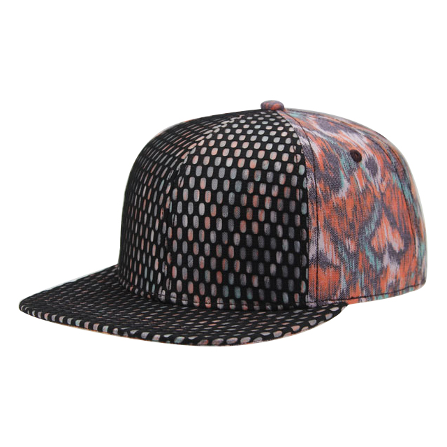 Wholesale High End Quality Mesh fabric structured front 6 panel baseball cap with printing patter back panel snapback <strong>hat</strong>