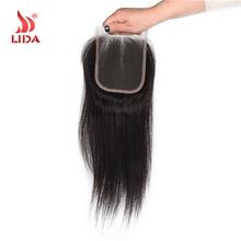Lida 100% human hair lace closure unprocessed virgin hand tied brazilian hair 4*4 10-18inches middle part lace closure