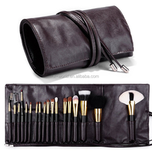 Makeup brush rolling case pouch holder Cosmetic bag organizer Travel portable 18 pockets Cosmetics Brushes leather case