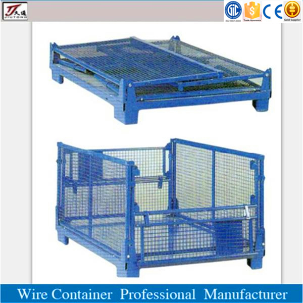 Steel mesh container foldable transport pallet cage
