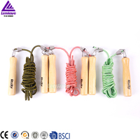 Lenwave brand wholesale jump rope fitness equipment wooden handle rope skipping