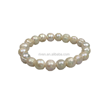 PE0046 Elegant Handmade Woman Fashion 10-11mm Fresh Water pearl elastic bracelet