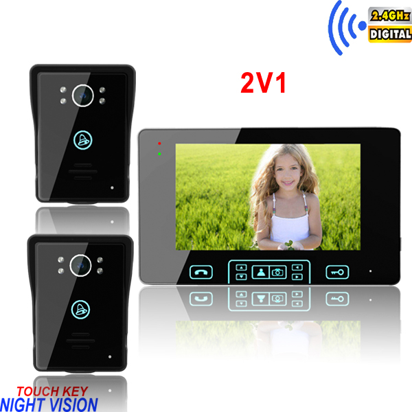 2.4GHz touch key 7 inch wireless door eye peephole electronic locks video monitor
