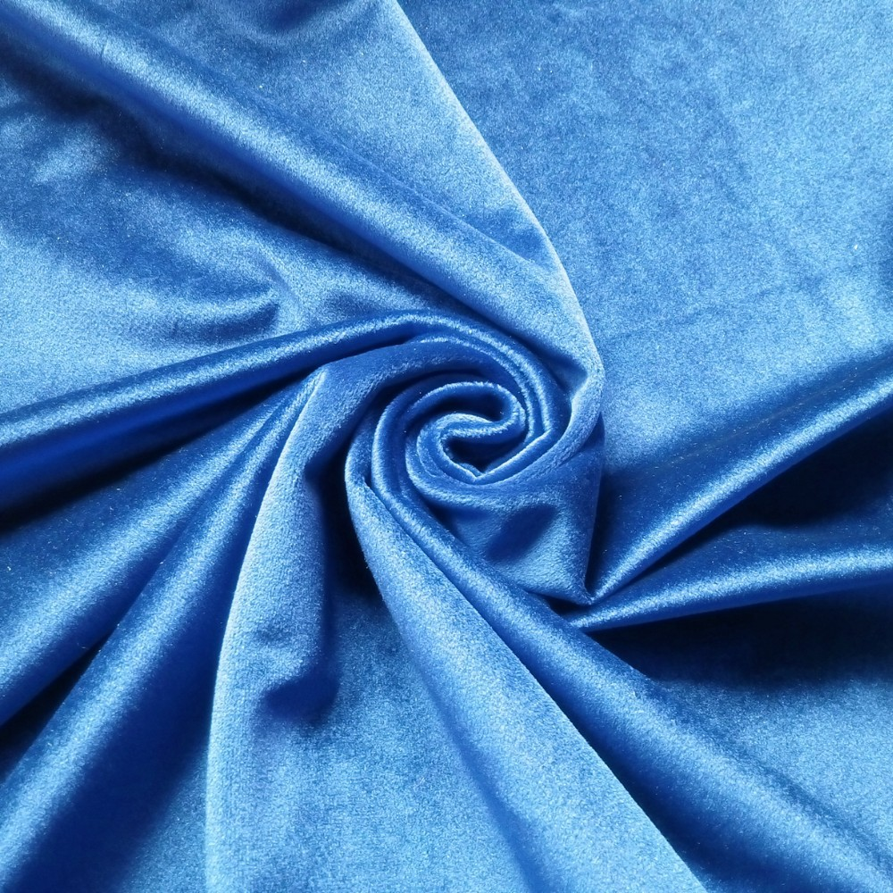 Blue Velour Drapery Fabric