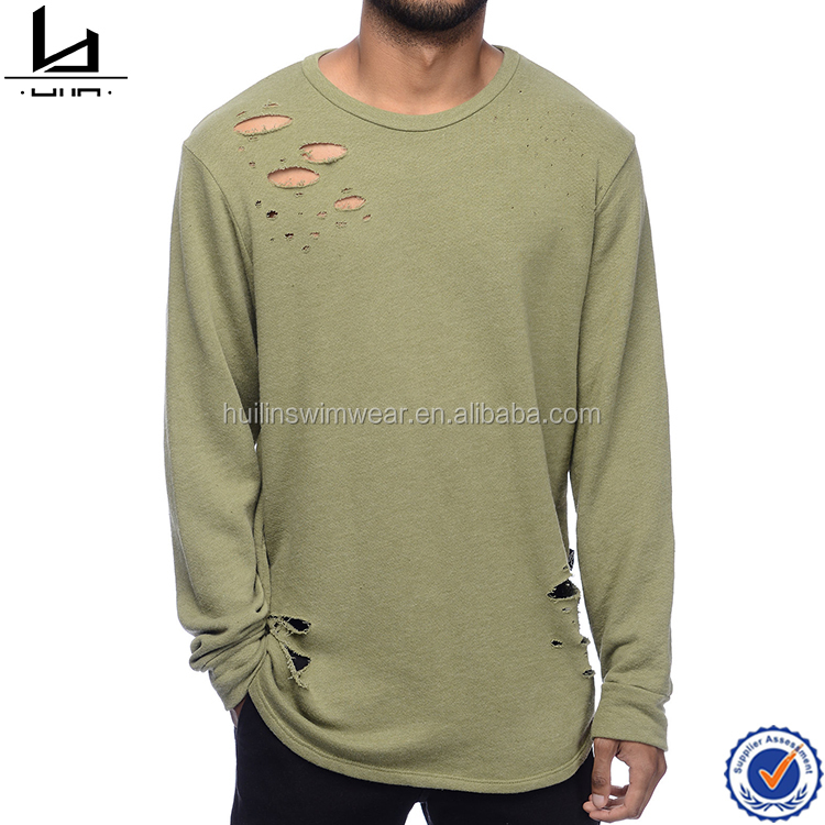 Bulk promotional long sleeve knit man plain t-shirt distressed shirt men clothes