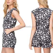 Polyester sleeveless animal leopard printed adult elegant jumpsuits for mature women