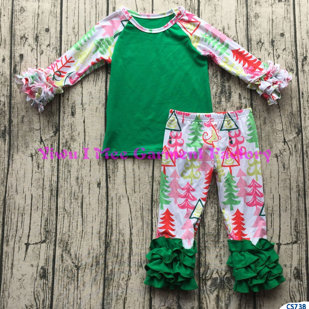 Wholesale children's boutique fall clothing western girls popular cotton icing wear baby girls ruffle raglan christmas outfits