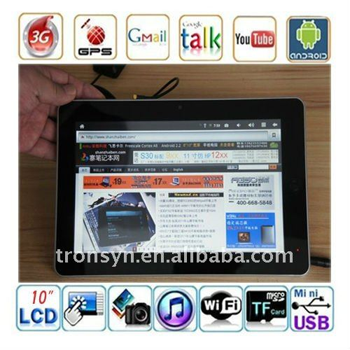 10 Inch Resistive screen Android 2.2 Table Pc with Bluetooth HDMI Camera GPS