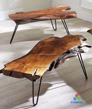 Faux solid wood coffee table with metal legs