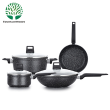 Best Chinese Kitchen Aluminum Non-Stick Induction Cooking Pots and Pans with stone coating