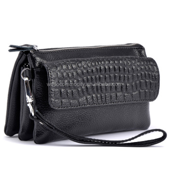 Multi function three zipper pockets real leather clutch
